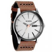 Nixon Sentry Leather (Saddle Silver)
